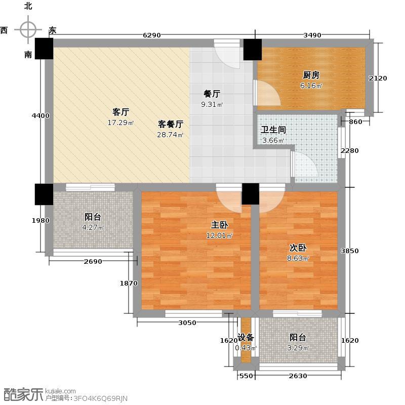 舜耕帝景88.90㎡舜耕帝景B户型两室二厅一卫88.9平米户型2室2厅1卫