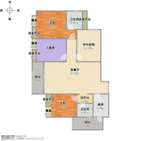 鸥鹏泊雅湾3室1厅2卫1厨156.00㎡户型图
