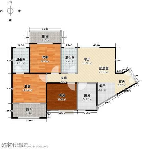 高新百悦城3室0厅2卫1厨97.00㎡户型图