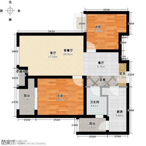 森茂华庭2室1厅1卫1厨95.00㎡户型图