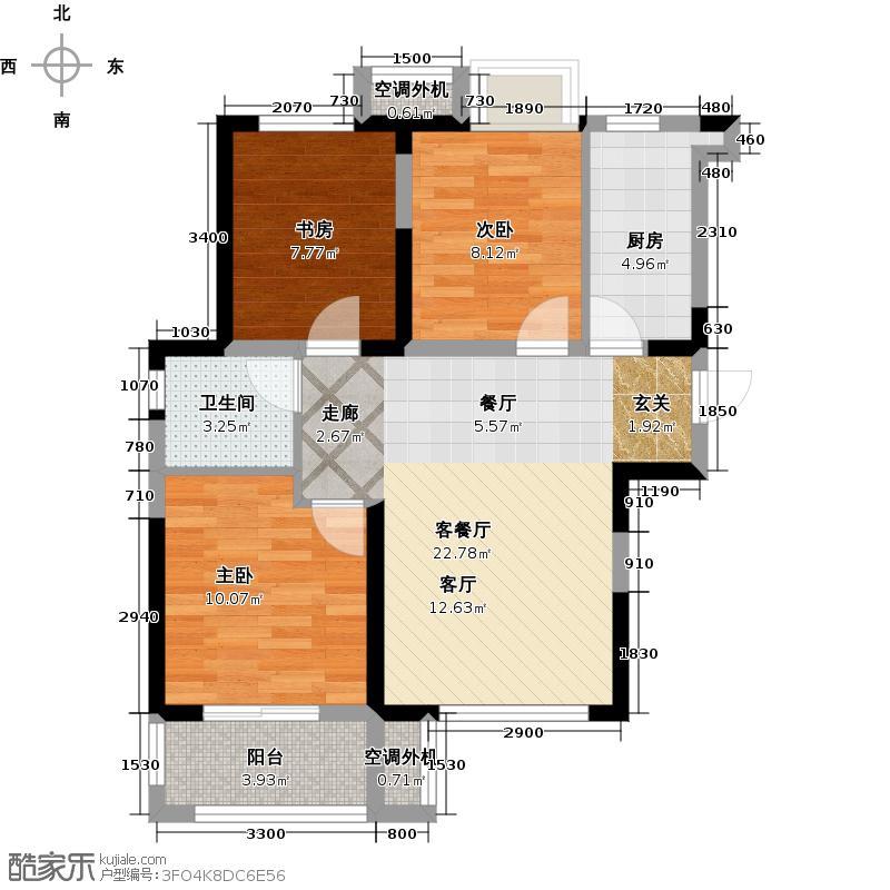 荣盛花语馨苑户型3室1厅1卫1厨
