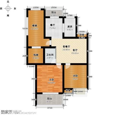 黄金海岸2室1厅1卫1厨109.00㎡户型图