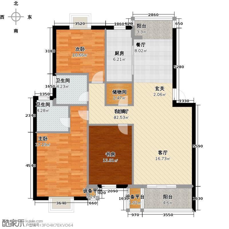 海天幸福小城118.00㎡房型: 三房; 面积段: 118 -140 平方米;户型