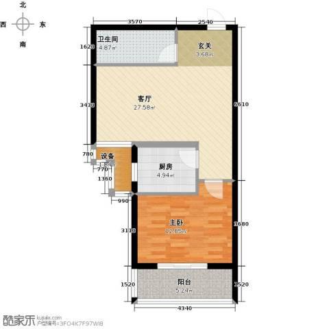 尚水河畔1室1厅1卫1厨60.00㎡户型图