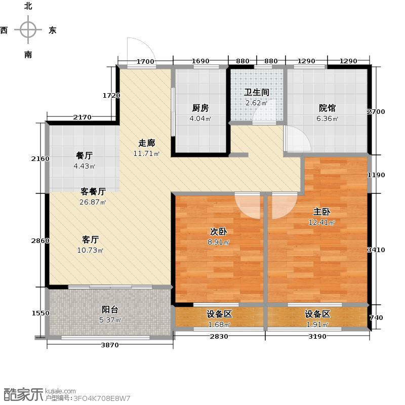 金科时代中心85.00㎡17栋G3户型2室2厅1卫