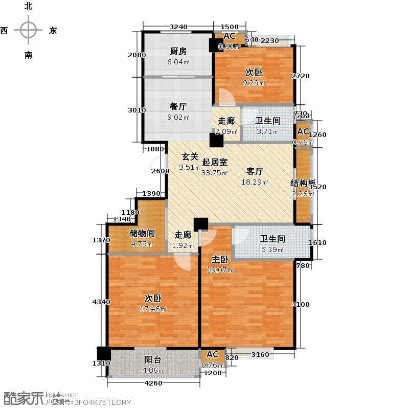 紫金华府114平米三室两厅两卫一储藏间户型