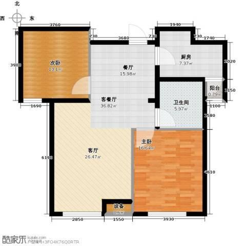 通用富馨佳苑2室1厅1卫1厨91.00㎡户型图