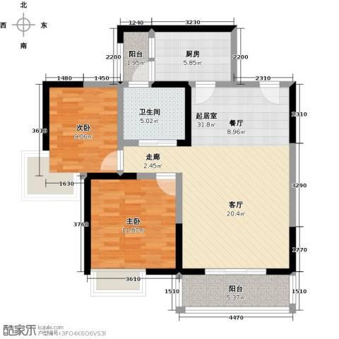 蓝天天悦府2室0厅1卫1厨83.00㎡户型图