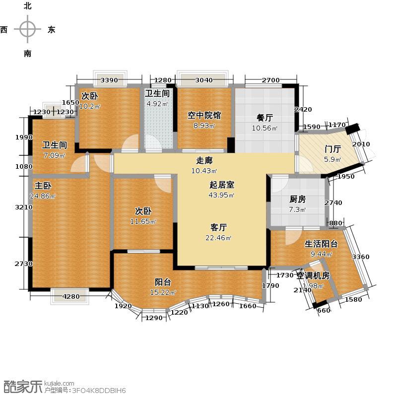 重庆棕榈泉国际花园电商特惠I、J空中院馆户型3室2卫1厨