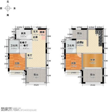 优佳家2室1厅2卫1厨104.00㎡户型图