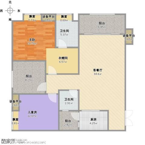 鸥鹏泊雅湾2室1厅2卫1厨134.00㎡户型图