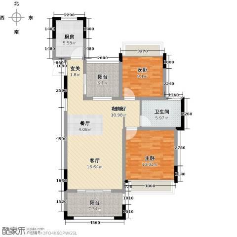 优佳家2室1厅1卫1厨93.00㎡户型图