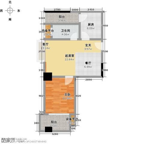 梦泽园美美公馆1室0厅1卫1厨79.00㎡户型图