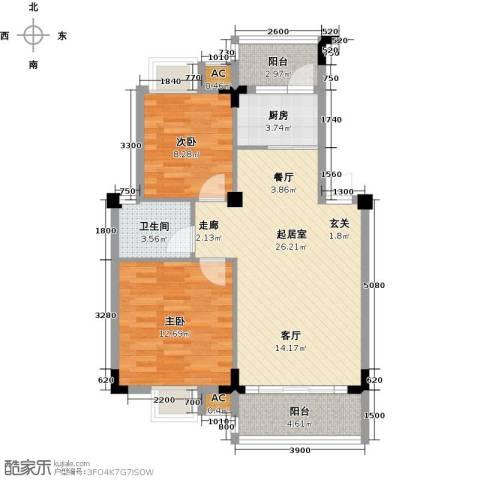 中民阳光城2室0厅1卫1厨90.00㎡户型图