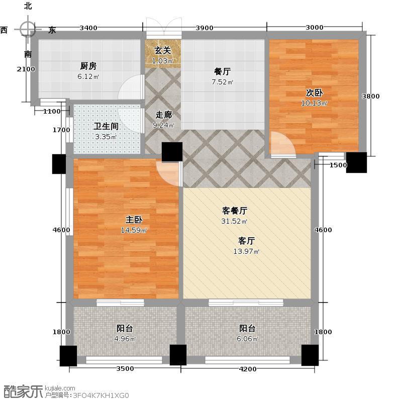 金缘华庭110.66㎡C户型两房两厅一卫户型2室2厅1卫