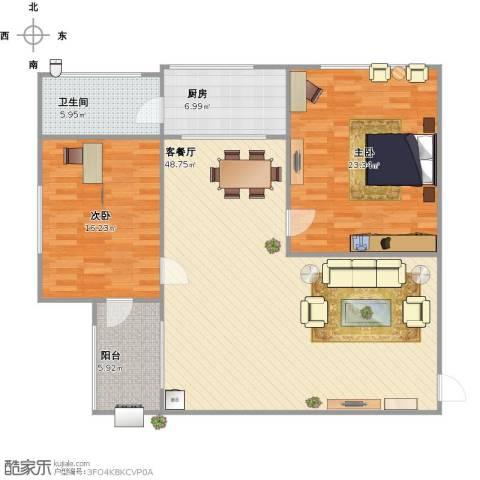 旭城花园2室1厅1卫1厨142.00㎡户型图