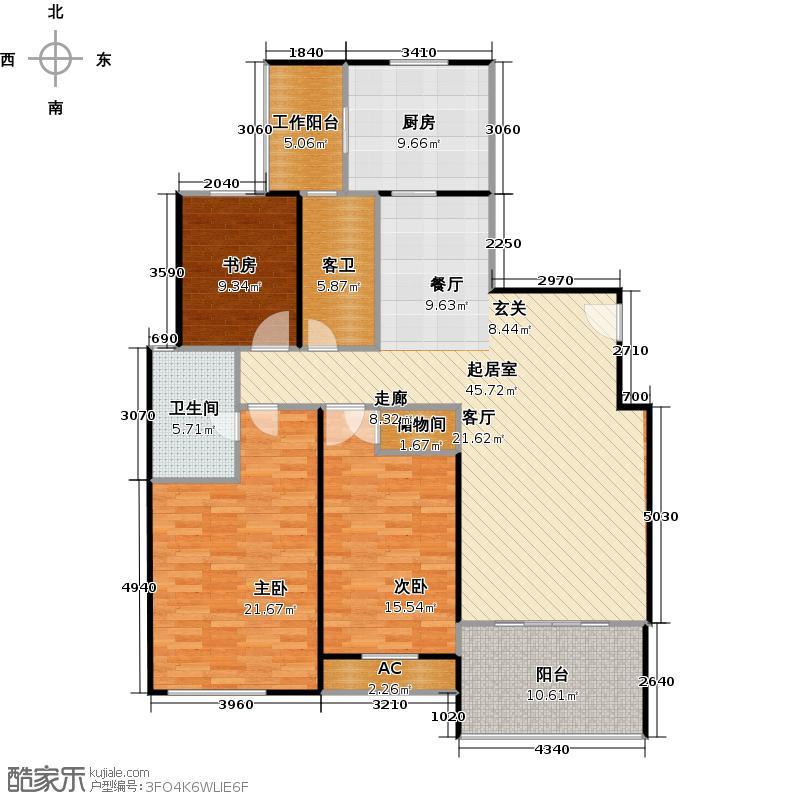 仁恒家园140.00㎡房型: 三房; 面积段: 140 -150 平方米;户型