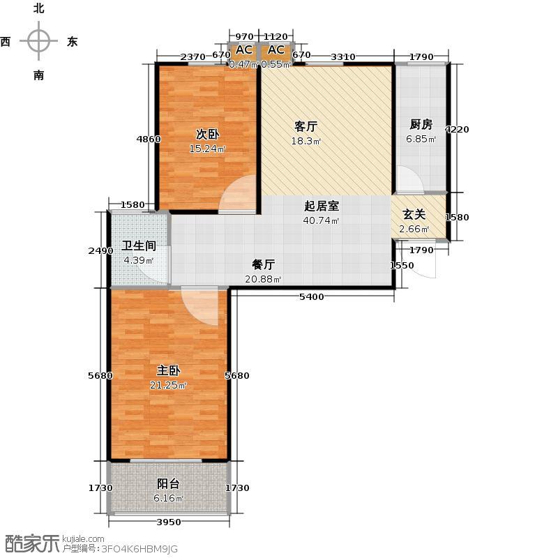 信通公寓102.00㎡E户型E'户型两室两厅一卫户型2室2厅1卫