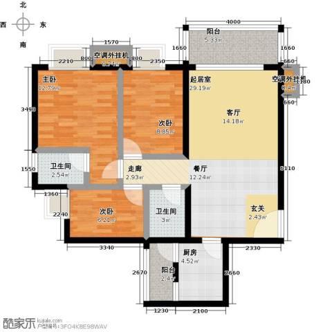 神州华府二期3室0厅2卫1厨90.00㎡户型图
