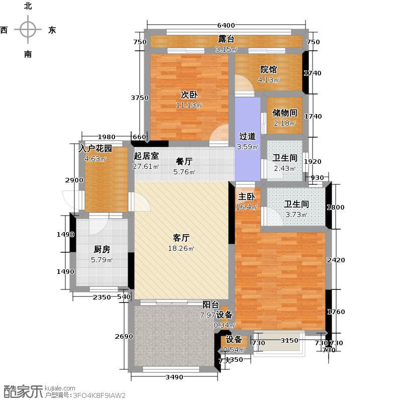 金科中央公园城108.32㎡A6户型 建筑面积约108.32平 三室两厅两卫户型3室2厅2卫