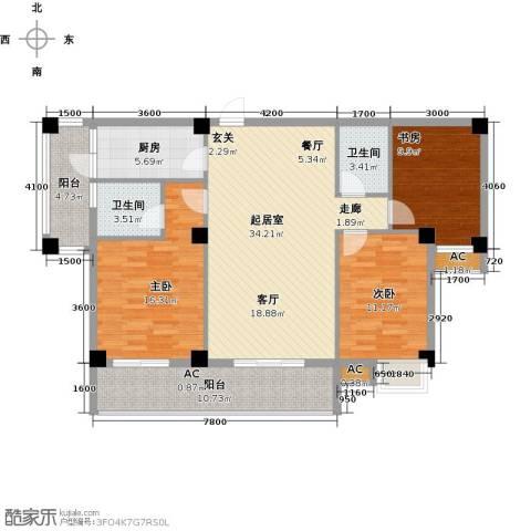 中民阳光城3室0厅2卫1厨138.00㎡户型图