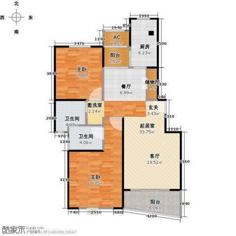 大唐盛世花园三期2室0厅2卫1厨100.00㎡户型图