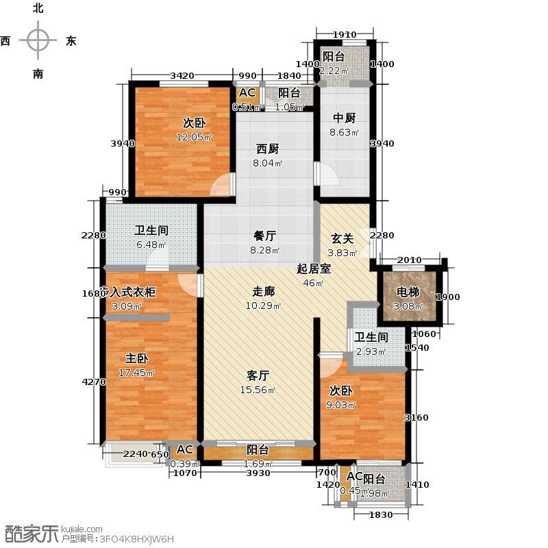 金隅翡丽铂爵郡146.50㎡C5户型三室两厅两卫户型LL