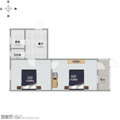 朝晖一区2室1厅1卫1厨57.00㎡户型图