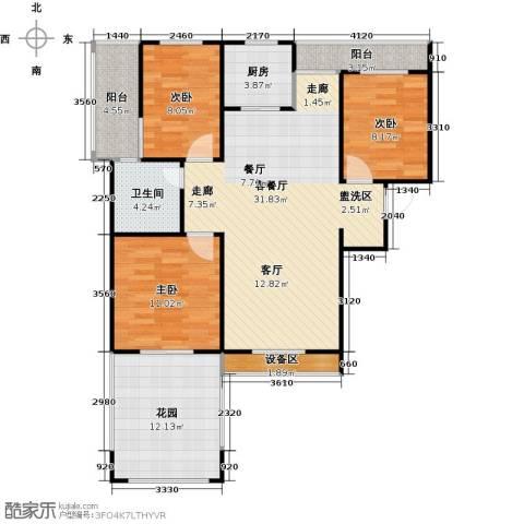 枫丹翡翠公馆3室1厅1卫1厨121.00㎡户型图