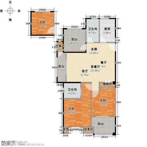 路劲城市主场3室1厅2卫1厨114.00㎡户型图