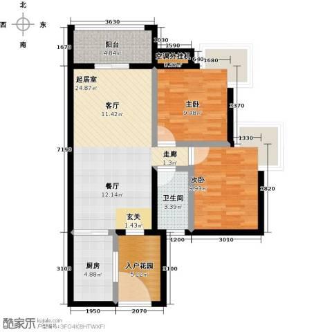 富力现代广场2室0厅1卫1厨82.00㎡户型图