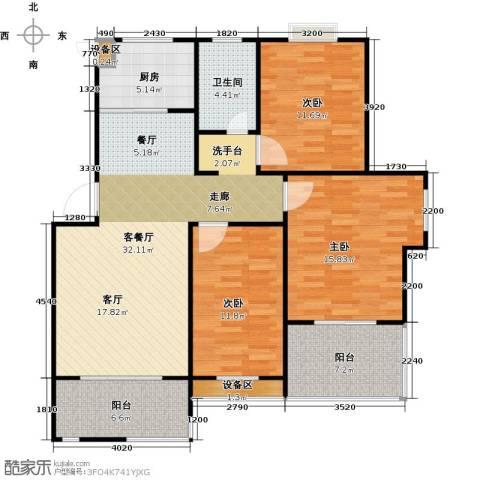 格林春天3室1厅1卫1厨130.00㎡户型图