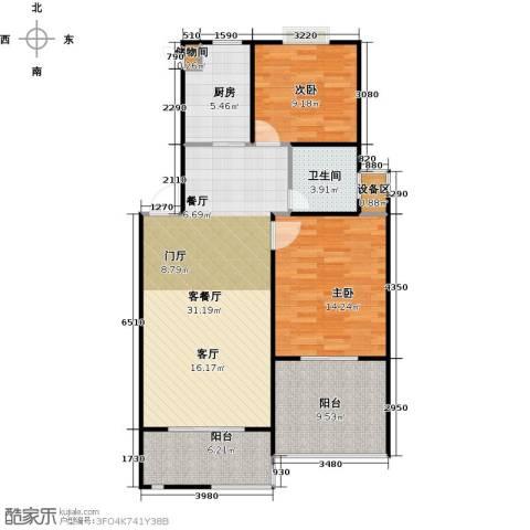 格林春天2室1厅1卫1厨109.00㎡户型图