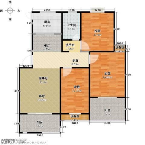 格林春天3室1厅1卫1厨129.00㎡户型图