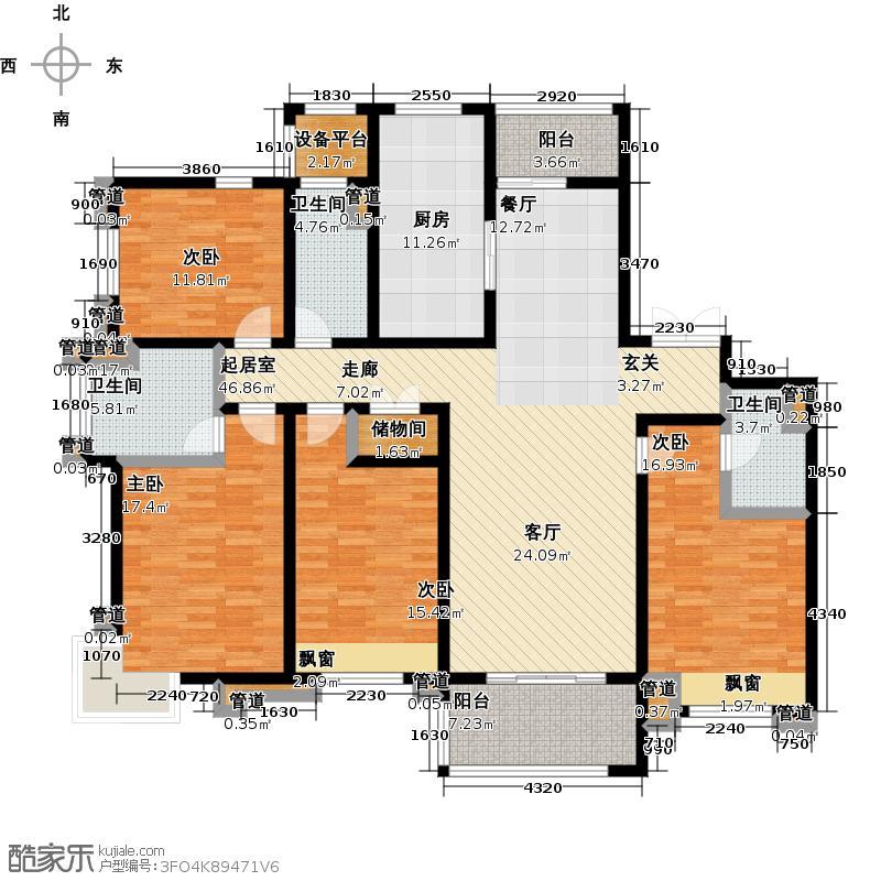 罗托鲁拉小镇明月天珑湾D户型四房两厅三卫176平米户型