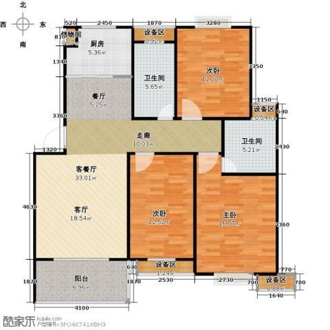 格林春天3室1厅2卫1厨136.00㎡户型图