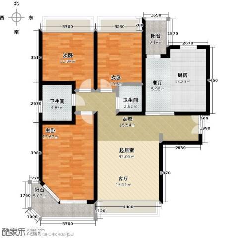 陆家嘴锦绣前城3室0厅2卫1厨120.00㎡户型图