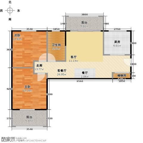 汉武国际城2室1厅1卫1厨91.00㎡户型图