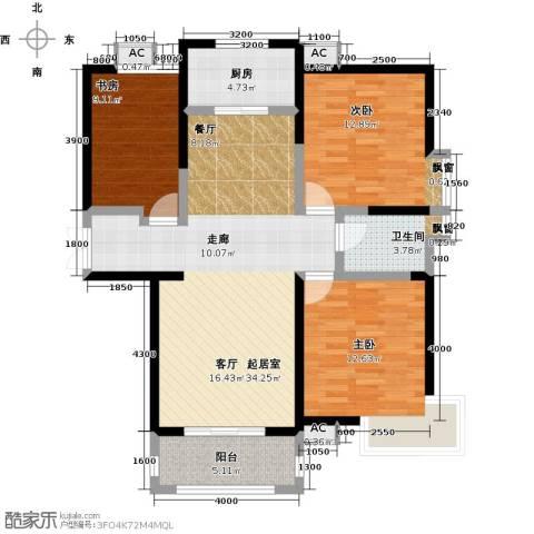 绿地世纪城3室0厅1卫1厨122.00㎡户型图