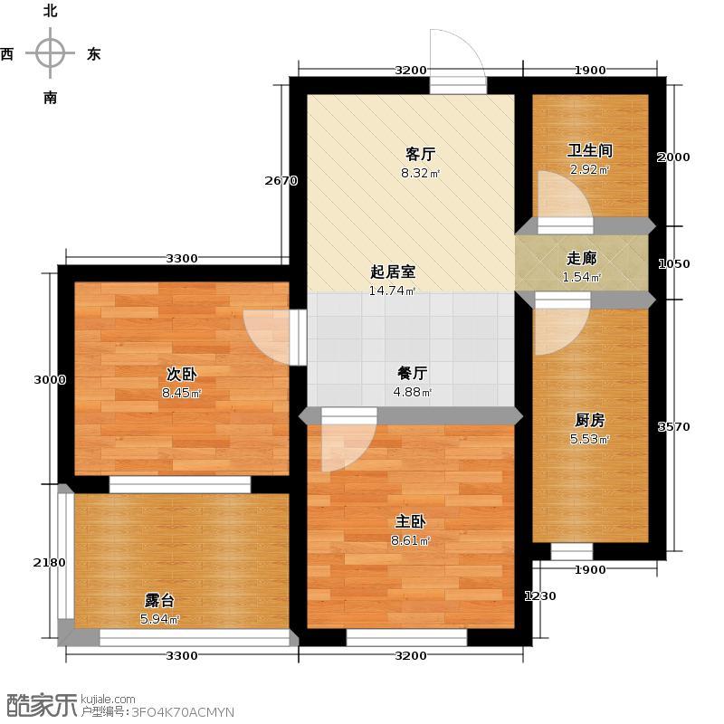 上尚城65.00㎡9#-A-65㎡-二室二厅一卫户型2室2厅1卫