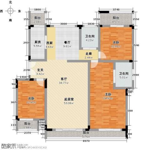 福渔园枫尚河院3室0厅2卫1厨190.00㎡户型图