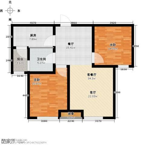 通用富馨佳苑2室1厅1卫1厨93.00㎡户型图