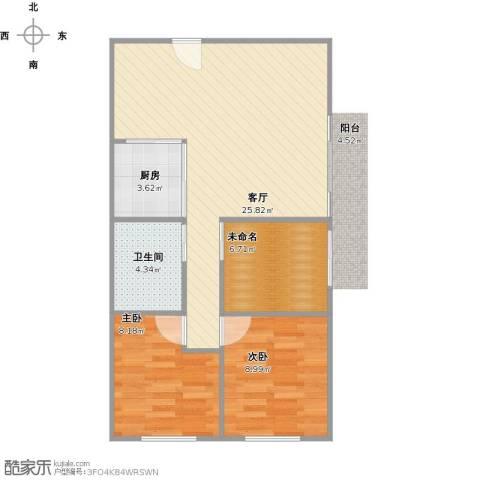 龙城花园2室1厅1卫1厨78.00㎡户型图