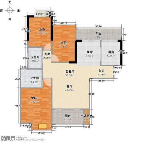 御水湾3室1厅2卫1厨116.00㎡户型图