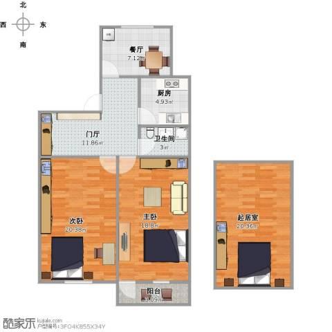 中桥二村2室1厅1卫1厨120.00㎡户型图
