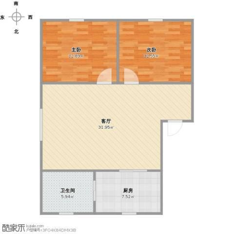 天福新城B区2室1厅1卫1厨94.00㎡户型图