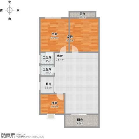 禾祥商城3室1厅2卫1厨76.00㎡户型图