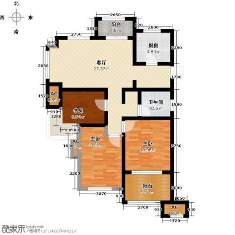 万科草庄3室1厅1卫1厨89.00㎡户型图