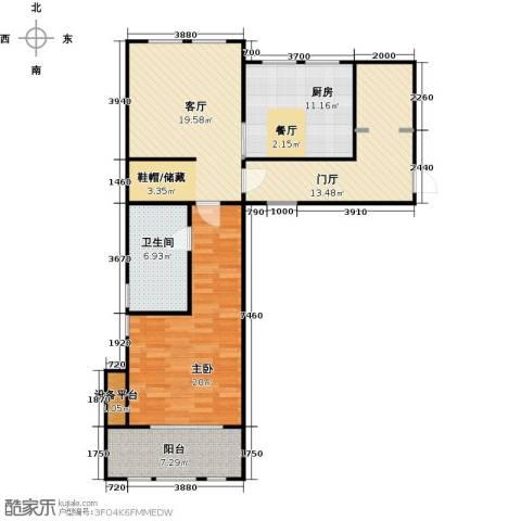 万科草庄1室1厅1卫1厨85.00㎡户型图