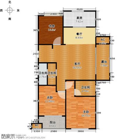 万科草庄3室1厅3卫1厨132.00㎡户型图